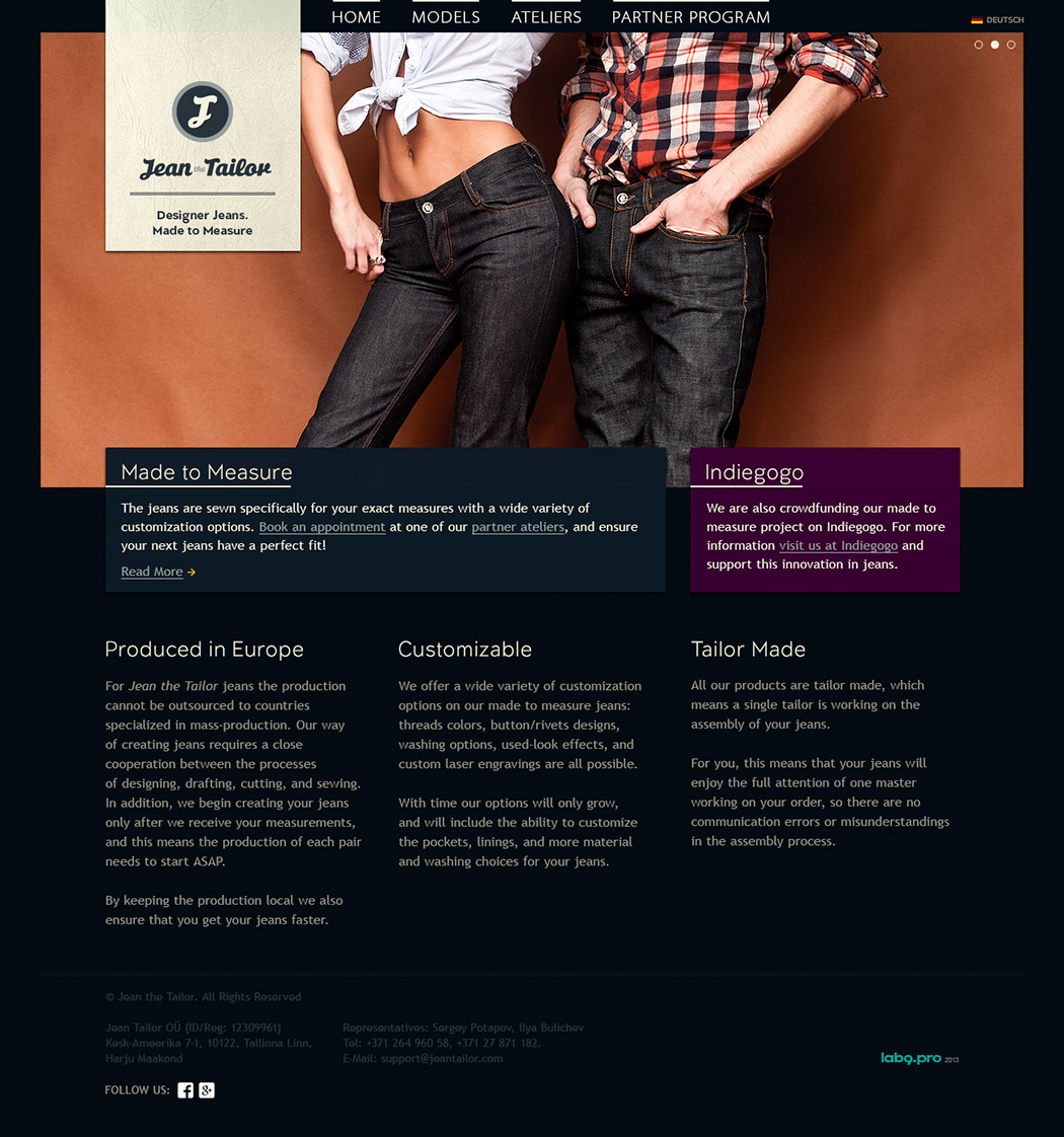 Jean the Tailor Website Design