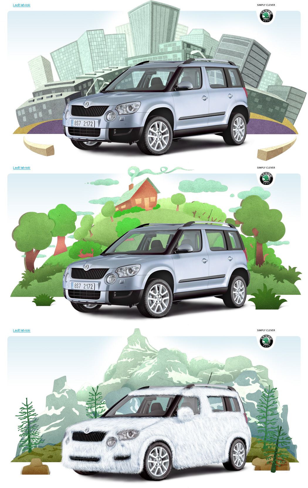 SKODA, hairy Yeti illustration